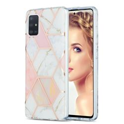 Pink White Marble Pattern Galvanized Electroplating Protective Case Cover for Samsung Galaxy A51 4G