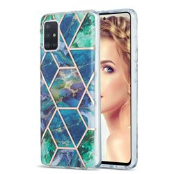 Blue Green Marble Pattern Galvanized Electroplating Protective Case Cover for Samsung Galaxy A51 4G