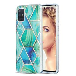 Green Glacier Marble Pattern Galvanized Electroplating Protective Case Cover for Samsung Galaxy A51 4G