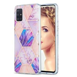 Purple Dream Marble Pattern Galvanized Electroplating Protective Case Cover for Samsung Galaxy A51 4G