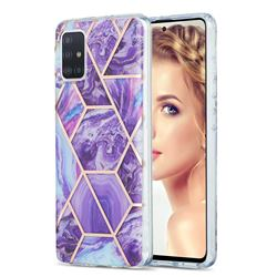 Purple Gagic Marble Pattern Galvanized Electroplating Protective Case Cover for Samsung Galaxy A51 4G