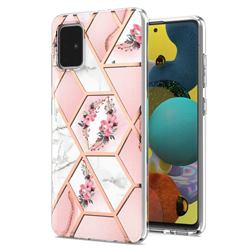 Pink Flower Marble Electroplating Protective Case Cover for Samsung Galaxy A51 4G