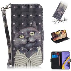 Cat Embrace 3D Painted Leather Wallet Phone Case for Samsung Galaxy A51