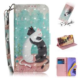 Black and White Cat 3D Painted Leather Wallet Phone Case for Samsung Galaxy A51