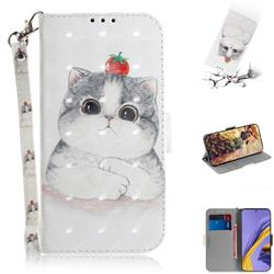 Cute Tomato Cat 3D Painted Leather Wallet Phone Case for Samsung Galaxy A51