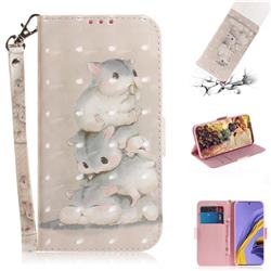 Three Squirrels 3D Painted Leather Wallet Phone Case for Samsung Galaxy A51