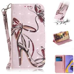 Butterfly High Heels 3D Painted Leather Wallet Phone Case for Samsung Galaxy A51