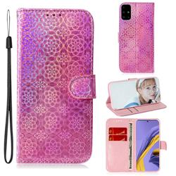 Laser Circle Shining Leather Wallet Phone Case for Samsung Galaxy A51 - Pink