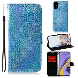 Laser Circle Shining Leather Wallet Phone Case for Samsung Galaxy A51 - Blue