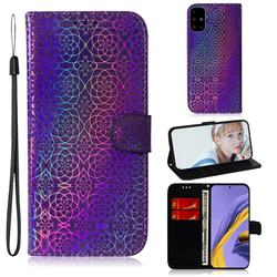 Laser Circle Shining Leather Wallet Phone Case for Samsung Galaxy A51 - Purple