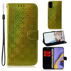 Laser Circle Shining Leather Wallet Phone Case for Samsung Galaxy A51 - Golden