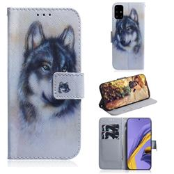 Snow Wolf PU Leather Wallet Case for Samsung Galaxy A51 4G