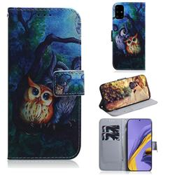 Oil Painting Owl PU Leather Wallet Case for Samsung Galaxy A51 4G