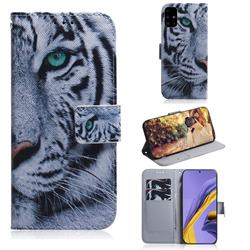 White Tiger PU Leather Wallet Case for Samsung Galaxy A51 4G