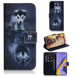 Wolf and Dog PU Leather Wallet Case for Samsung Galaxy A51 4G