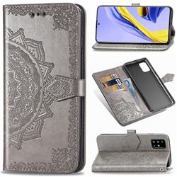 Embossing Imprint Mandala Flower Leather Wallet Case for Samsung Galaxy A51 - Gray