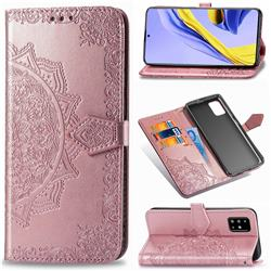 Embossing Imprint Mandala Flower Leather Wallet Case for Samsung Galaxy A51 - Rose Gold