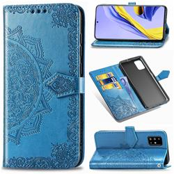 Embossing Imprint Mandala Flower Leather Wallet Case for Samsung Galaxy A51 4G - Blue