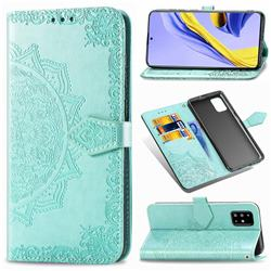 Embossing Imprint Mandala Flower Leather Wallet Case for Samsung Galaxy A51 4G - Green