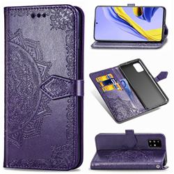 Embossing Imprint Mandala Flower Leather Wallet Case for Samsung Galaxy A51 - Purple