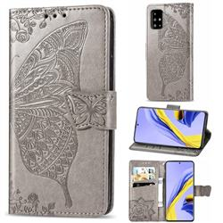 Embossing Mandala Flower Butterfly Leather Wallet Case for Samsung Galaxy A51 4G - Gray