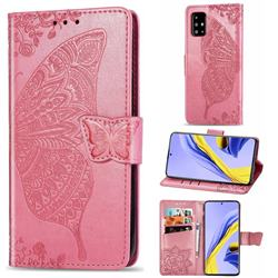 Embossing Mandala Flower Butterfly Leather Wallet Case for Samsung Galaxy A51 4G - Pink