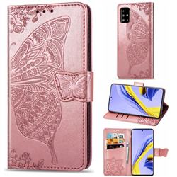 Embossing Mandala Flower Butterfly Leather Wallet Case for Samsung Galaxy A51 4G - Rose Gold