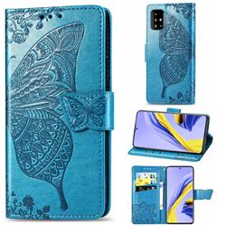 Embossing Mandala Flower Butterfly Leather Wallet Case for Samsung Galaxy A51 4G - Blue