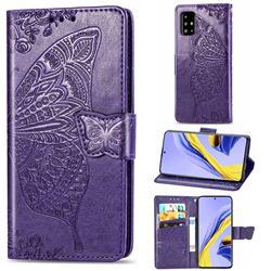 Embossing Mandala Flower Butterfly Leather Wallet Case for Samsung Galaxy A51 4G - Dark Purple