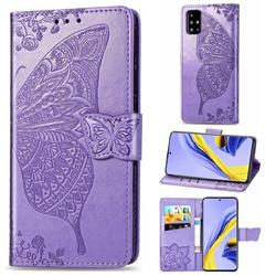 Embossing Mandala Flower Butterfly Leather Wallet Case for Samsung Galaxy A51 4G - Light Purple
