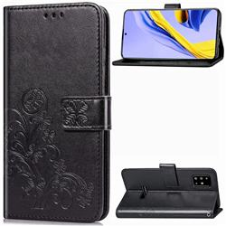 Embossing Imprint Four-Leaf Clover Leather Wallet Case for Samsung Galaxy A51 4G - Black