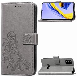Embossing Imprint Four-Leaf Clover Leather Wallet Case for Samsung Galaxy A51 4G - Grey