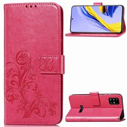 Embossing Imprint Four-Leaf Clover Leather Wallet Case for Samsung Galaxy A51 4G - Rose
