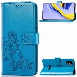 Embossing Imprint Four-Leaf Clover Leather Wallet Case for Samsung Galaxy A51 4G - Blue