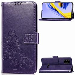 Embossing Imprint Four-Leaf Clover Leather Wallet Case for Samsung Galaxy A51 4G - Purple