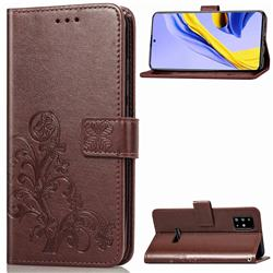 Embossing Imprint Four-Leaf Clover Leather Wallet Case for Samsung Galaxy A51 4G - Brown