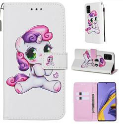 Playful Pony Matte Leather Wallet Phone Case for Samsung Galaxy A51 4G