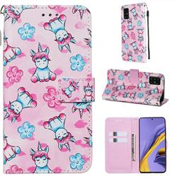Unicorn and Flowers Matte Leather Wallet Phone Case for Samsung Galaxy A51 4G