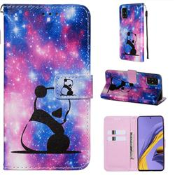 Panda Baby Matte Leather Wallet Phone Case for Samsung Galaxy A51 4G