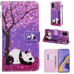 Cherry Blossom Panda Matte Leather Wallet Phone Case for Samsung Galaxy A51 4G