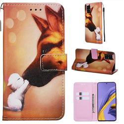 Hound Kiss Matte Leather Wallet Phone Case for Samsung Galaxy A51 4G