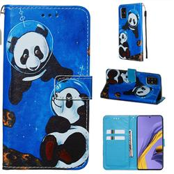 Undersea Panda Matte Leather Wallet Phone Case for Samsung Galaxy A51 4G