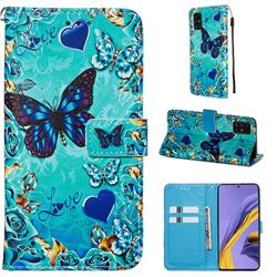 Love Butterfly Matte Leather Wallet Phone Case for Samsung Galaxy A51 4G