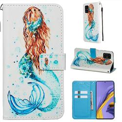 Mermaid Matte Leather Wallet Phone Case for Samsung Galaxy A51 4G