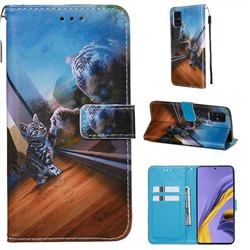 Mirror Cat Matte Leather Wallet Phone Case for Samsung Galaxy A51 4G