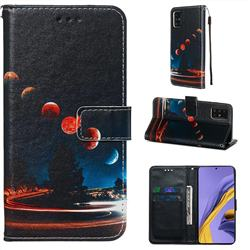 Wandering Earth Matte Leather Wallet Phone Case for Samsung Galaxy A51 4G