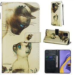 Cat Confrontation Matte Leather Wallet Phone Case for Samsung Galaxy A51 4G