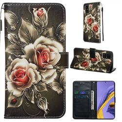 Black Rose Matte Leather Wallet Phone Case for Samsung Galaxy A51 4G