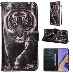 Black and White Tiger Matte Leather Wallet Phone Case for Samsung Galaxy A51 4G