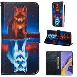 Water Fox Matte Leather Wallet Phone Case for Samsung Galaxy A51 4G